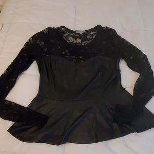 Black lace and faux leather blouse